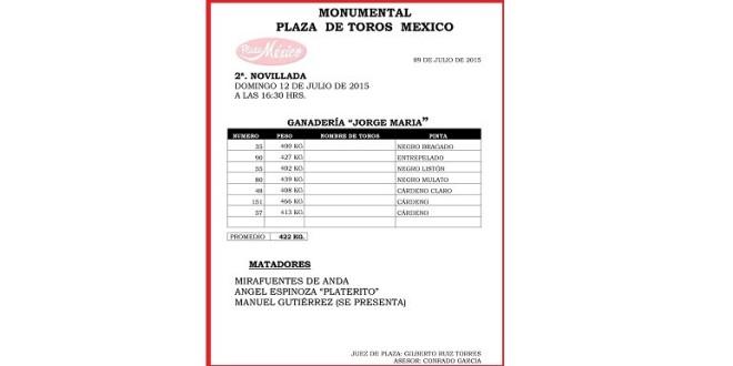 PROMEDIAN 422 kilos los novillos de JORGE MARÍA para la México