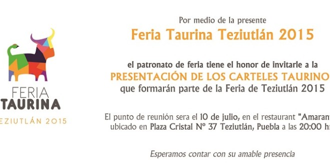 Presentan este viernes LOS CARTELES para TEZIUTLÁN