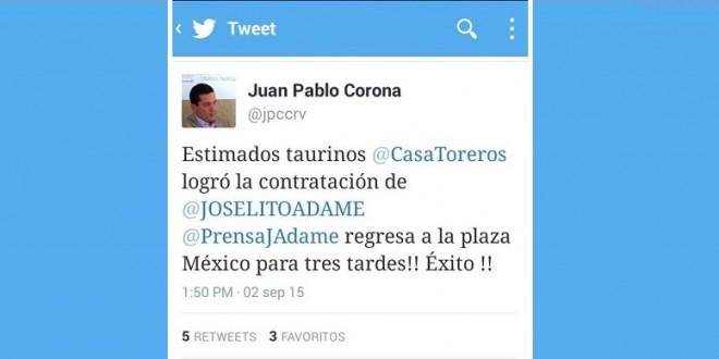 Firma Adame tres tardes para la TEMPORADA GRANDE de la MÉXICO