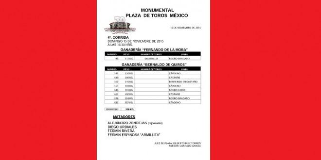 PLAZA MÉXICO: Aprobados los de BERNALDO DE QUIRÓS para el domingo
