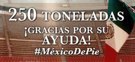 Envía la México 250 toneladas de ayuda a damnificados por sismo