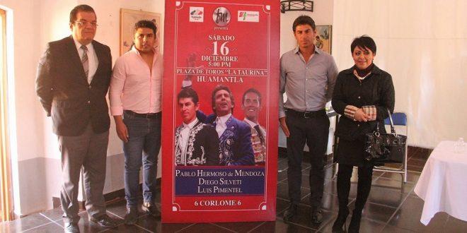 HERMOSO de MENDOZA, PIMENTEL y SILVETI, el 16/D en Huamantla