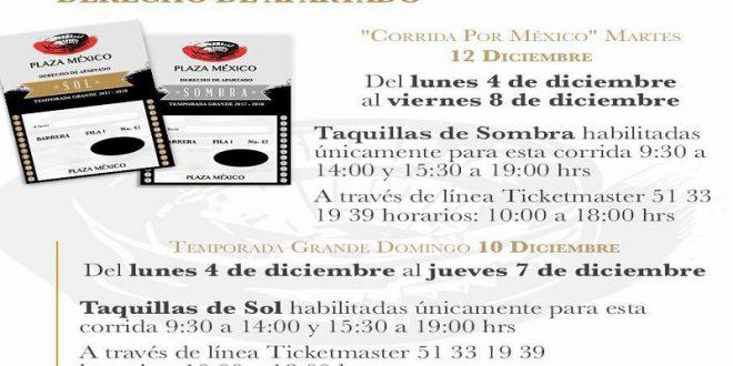 PLAZA MÉXICO: Conozca días y horarios para VENTA de BOLETOS para las corridas del 10 y 12/D con DERECHO de APARTADO