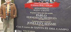 Hermoso y Adame, en festejo extraordinario en Zacatecas, el 18 de febrero