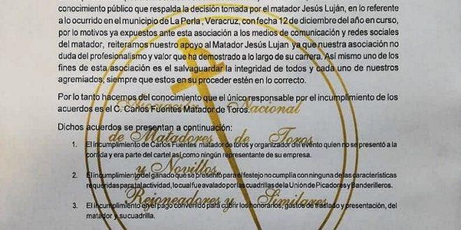 Espaldarazo de la ANTM a Jesús Luján en controversia con Carlos Fuentes