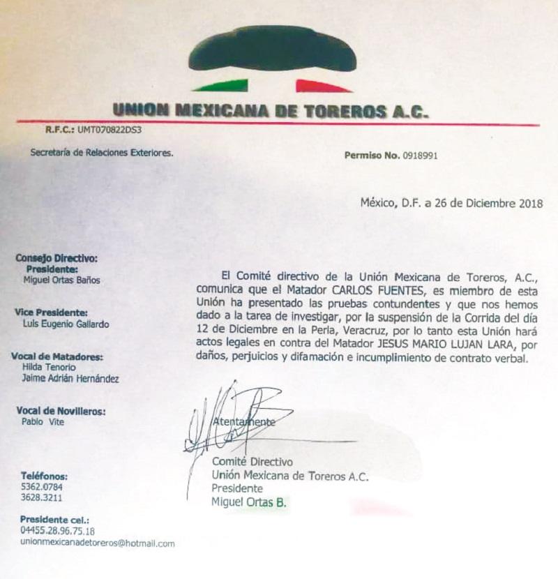 El comunicado de la UMT.