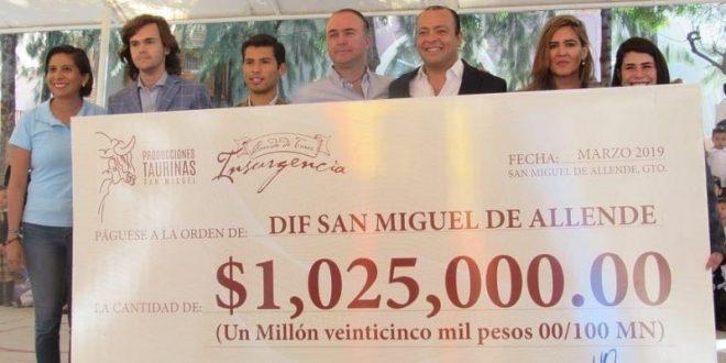 Donativo superior al MILLÓN de PESOS, tras festejo en SAN MIGUEL de ALLENDE