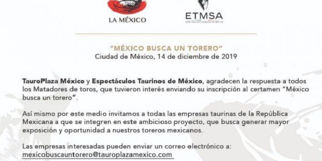 INVITAN a empresas a SUMARSE al certamen MÉXICO BUSCA UN TORERO