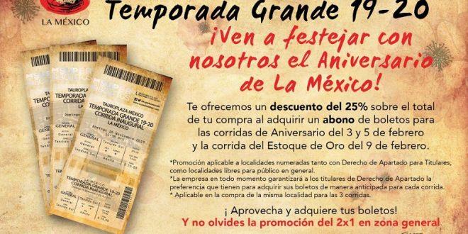 Hará la México descuento en boletaje para festejos de Aniversario y Estoque de Oro