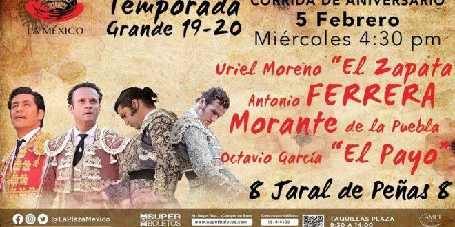 PLAZA MÉXICO: EL ZAPATA, 'MORANTE DE LA PUEBLA', FERRERA y 'EL PAYO', este miércoles