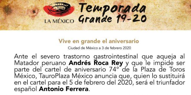 ANTONIO FERRERA, al cartel del miércoles en la MÉXICO; sustituye a Roca Rey