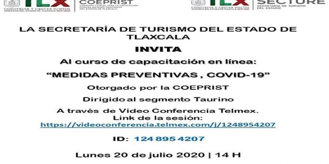 En Tlaxcala, a través de internet, curso de medidas preventivas covid-19, dirigido al sector taurino