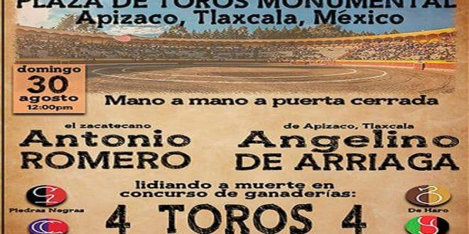 En Apizaco, el domingo, Romero y De Arriaga, mano a mano… a puertas cerradas