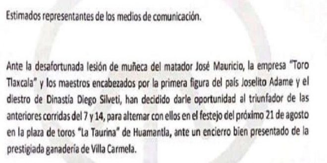 Decido apoyo de Toro Tlaxcala a toreros triunfadores
